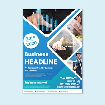 Business flyer abstract with photo