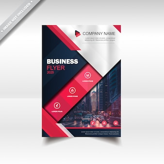 Business flyer brochure design template red blue navy white