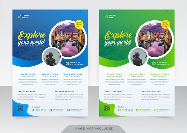 Business flyer and cover page template for travel agency