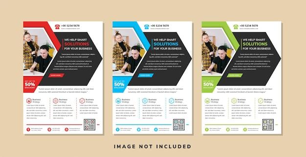 ビジネスチラシデザインテンプレートは、矢印要素を持つ写真のコラージュの抽象的な幾何学的なスタイルのスペースに半分の六角形を使用します
