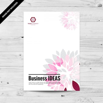 Business flyer design template with pink and grey petals