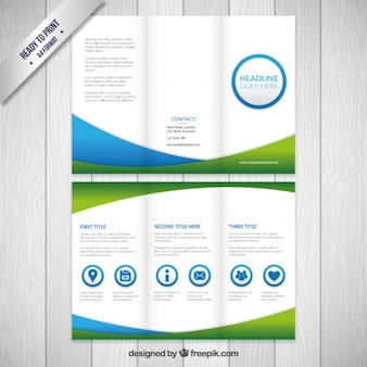 Business flyer in green and blue colors