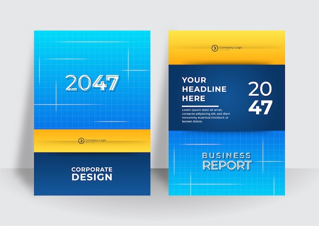 Business flyer layout template in a4 size. modern brochure template cover design, annual report with blue geometric and wavy lines for business promotion on white background, vector illustration