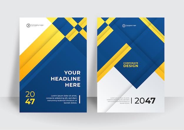 A4 크기의 비즈니스 전단지 레이아웃 템플릿입니다. 현대 브로셔 템플릿 표지 디자인, 흰색 배경, 벡터 일러스트 레이 션에 비즈니스 홍보를 위한 파란색 기하학적 물결선이 있는 연례 보고서