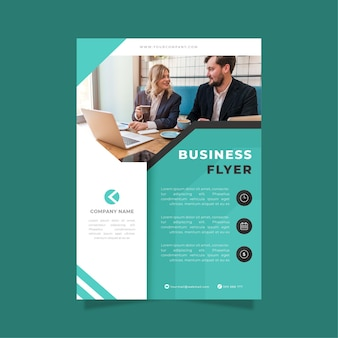 Business flyer print template blue and white