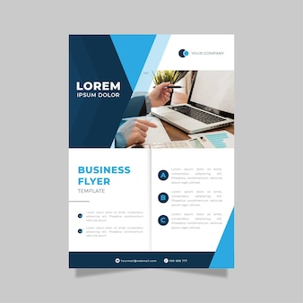 Business flyer print template in gradient blue