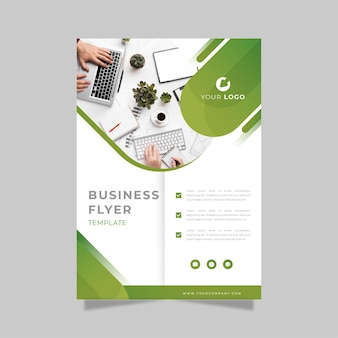 Business flyer print template in green and white shades