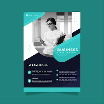 Business flyer print template woman holding a clipboard