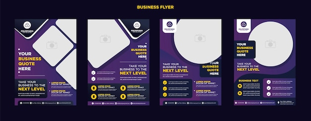 Business flyer set purple color corporate template design for annual report company