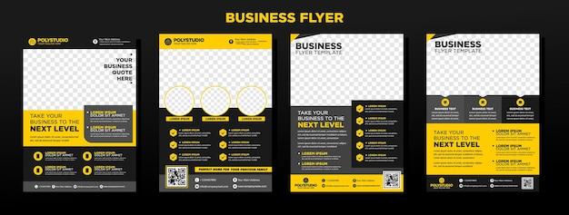 ビジネスチラシは、年次報告書会社の黄色の企業テンプレートデザインを設定します
