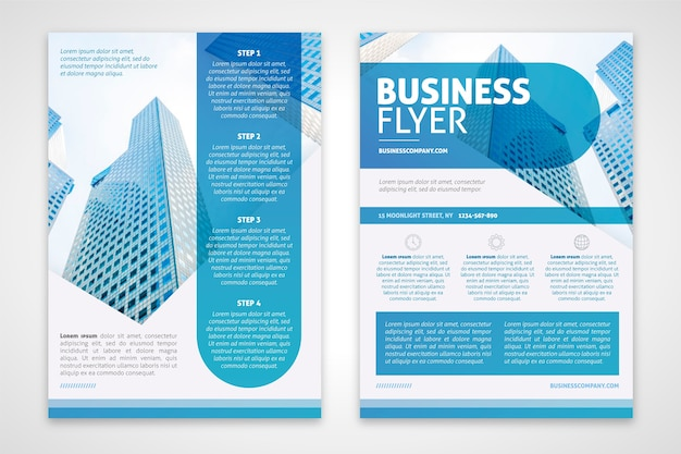 Business flyer template in blue tones