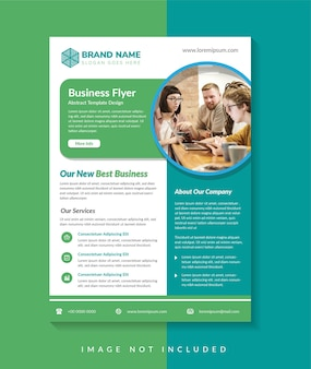 Business flyer template design use vertical layout green and blue colors element