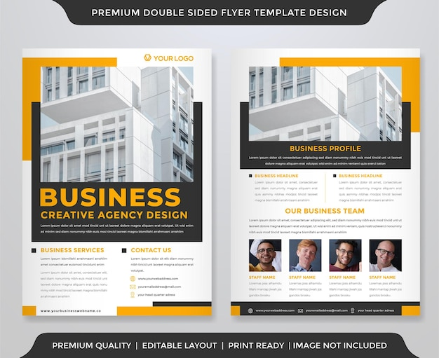Business flyer template design with modern and clean style Premium Vector