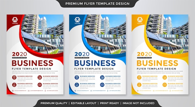 Business flyer template design with modern and