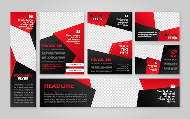 Business flyer template and header red pack