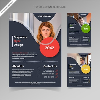 Business flyer template liquid shape with 3 color choices