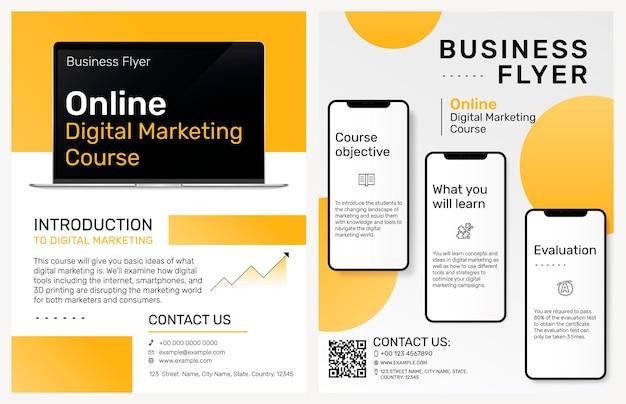 Modello di volantino aziendale per corso di marketing digitale online
