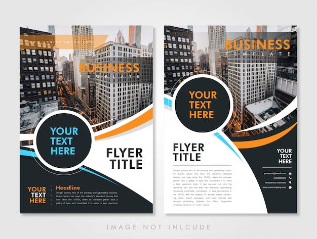 Business flyer template orange