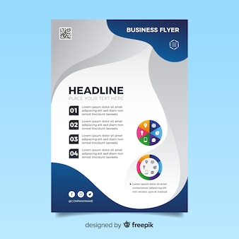 Business flyer template with abstract shapes
