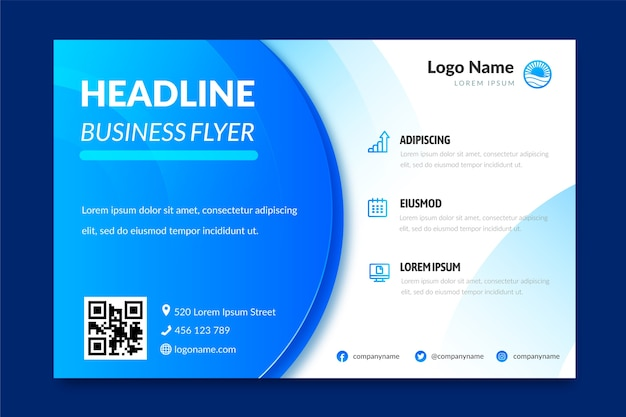 Business flyer template with blue abstract shapes