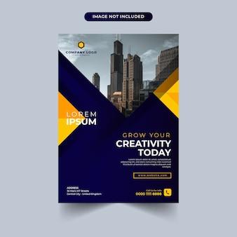 파란색과 노란색 색상 디자인 비즈니스 전단지 서식 파일