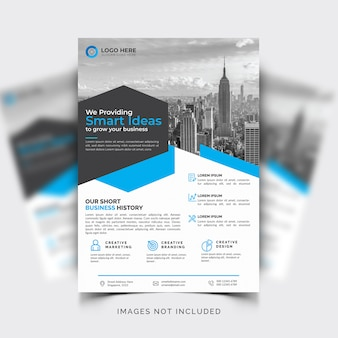 Business flyer template with blue details