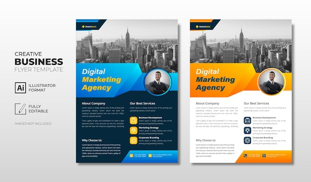 Business flyer template with blue and orange