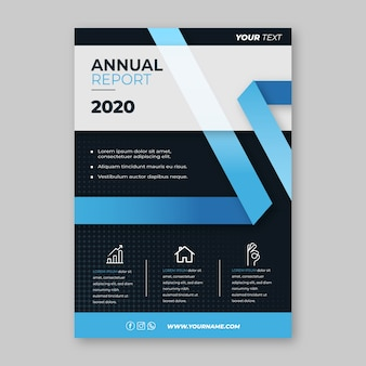 Business flyer template with blue shapes