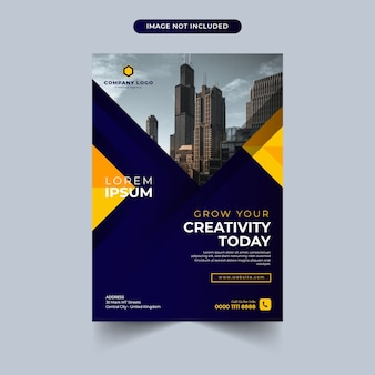 Business flyer template with blue and yellow color design