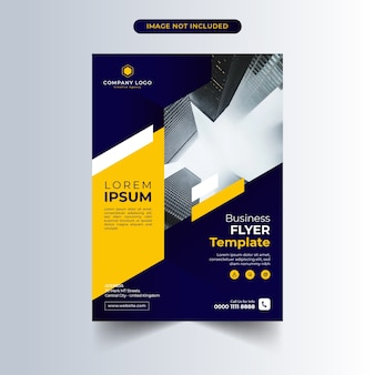 Business flyer template with blue and yellow design
