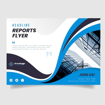 Business flyer template with buildings photo and wavy shapes