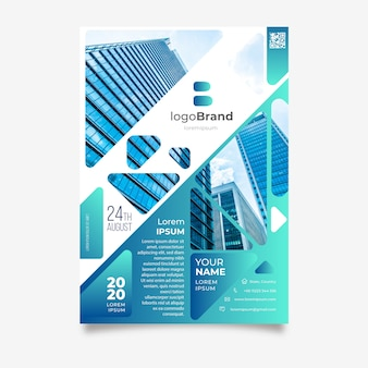 Business flyer template with buildings