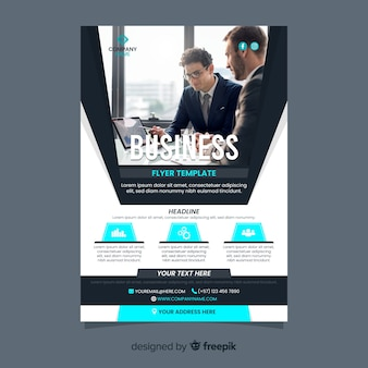 Business flyer template with businessmen photo