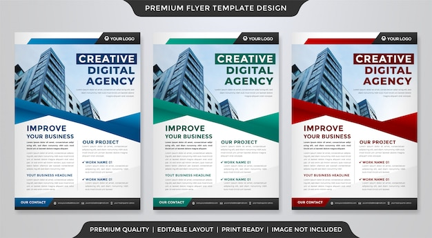 Business flyer template with clean style Premium Vector