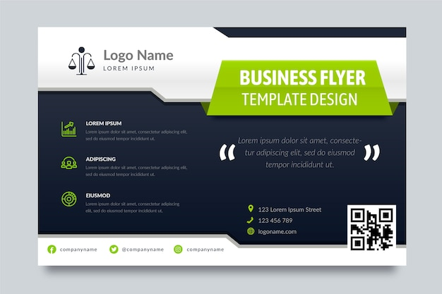 Business flyer template with different shapes