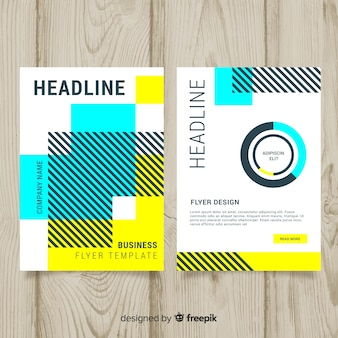 Business flyer template with geometric design