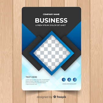 Business flyer template with geometric shapes