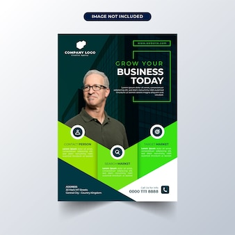 Business flyer template with green design