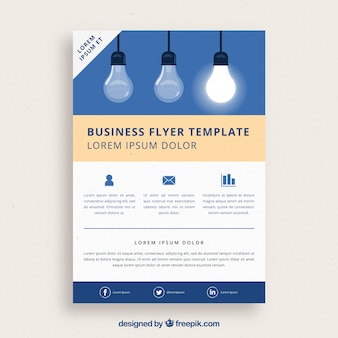 Business flyer template with light bulbs