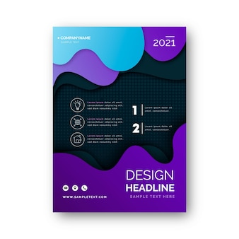 Business flyer template with liquid shapes
