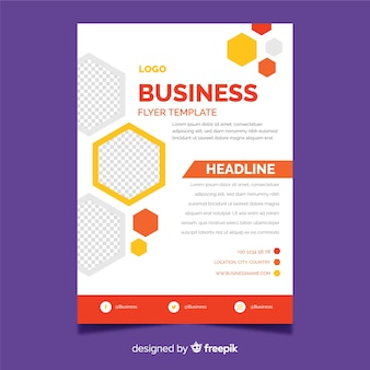 Business flyer template with mosaic design elements