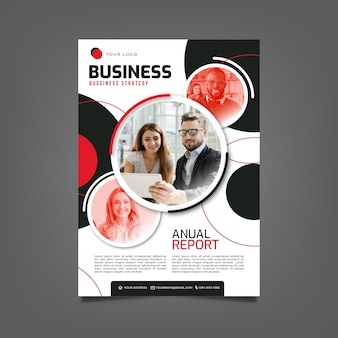 Business flyer template with mosaic photo