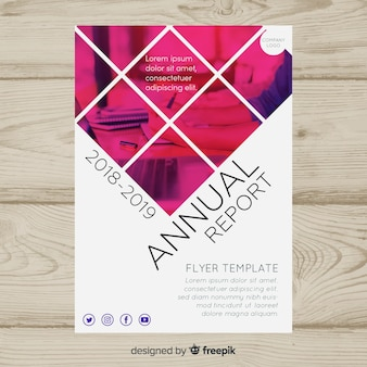 Business flyer template with mosaic pictures
