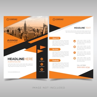 Business flyer template with orange geometric style