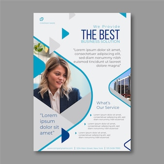 Business flyer template with photo of businesswoman