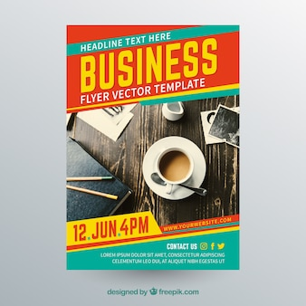Business flyer template with photo of coffee