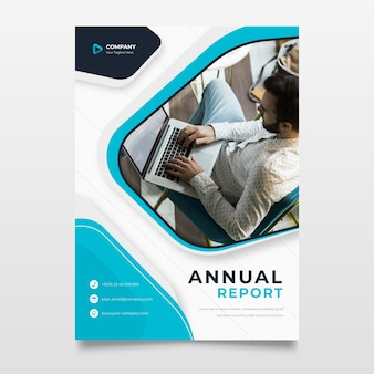 Business flyer template with photo of man working