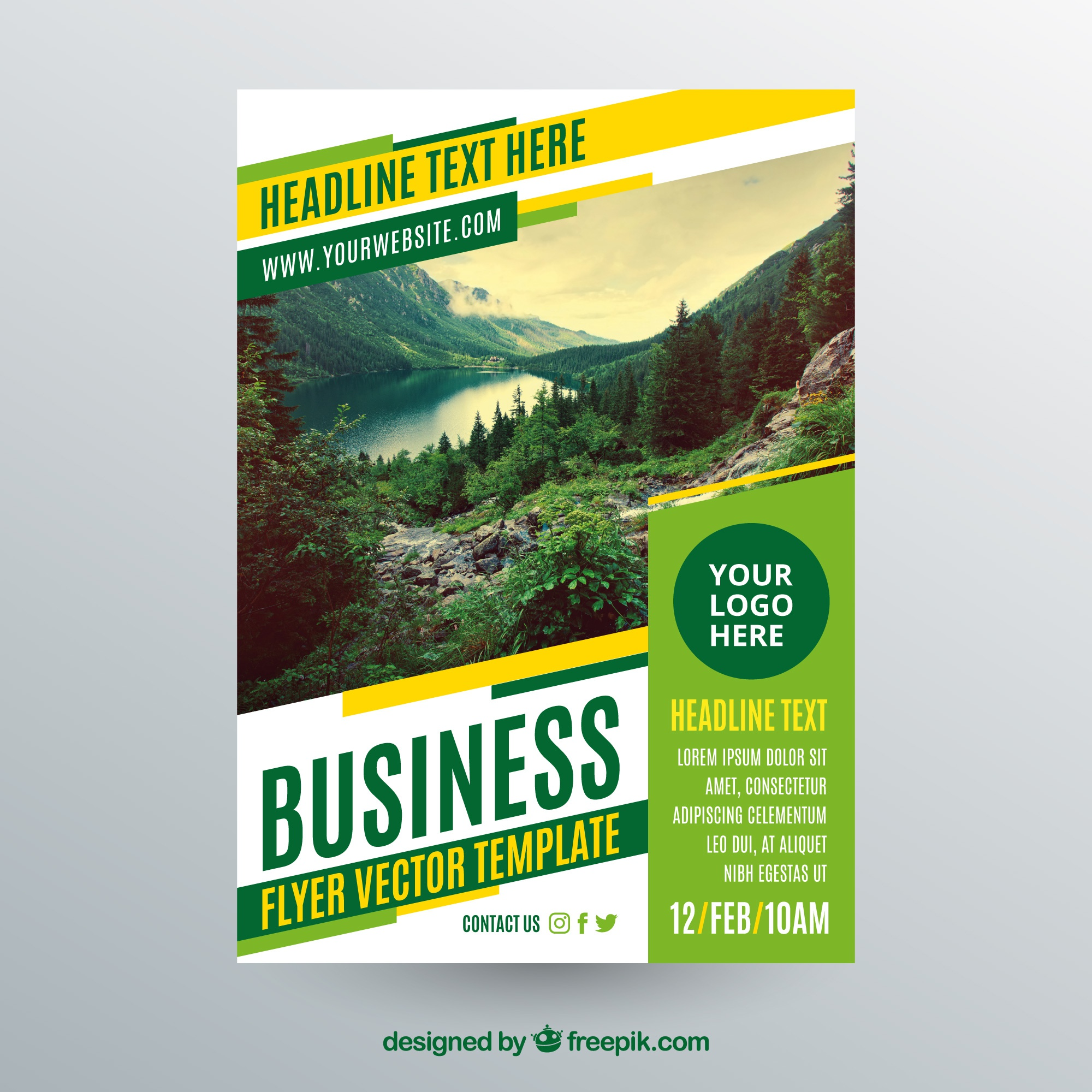 Business flyer template with photo of landscape
