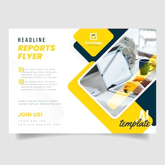 Business flyer template with photo of person working on laptop