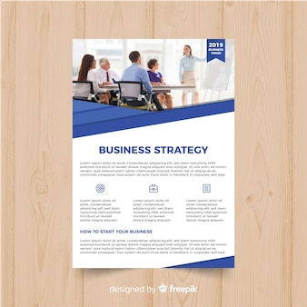 Business flyer template with photo